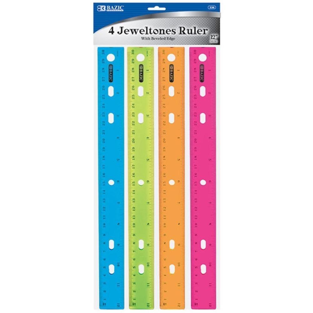 BAZIC 12'' (30cm) Jeweltones Color Ruler (4/Pack), Case Pack of 144