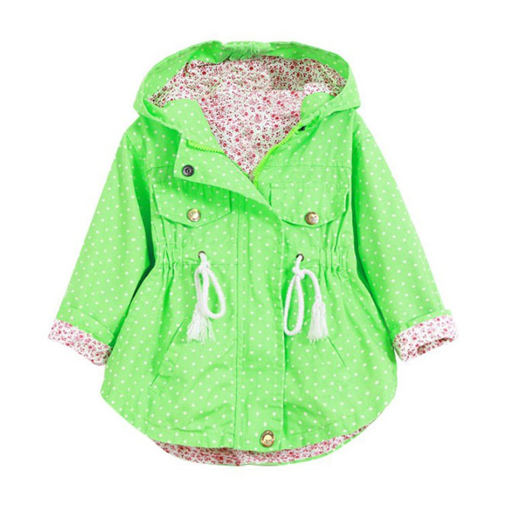Timall Toddler Girls Hooded Coat Jacket Dress Coat Windbreaker Dot Printing Outwear Spring Fall Winter Jacket
