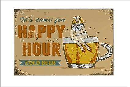 Piastrella birra bar pub happy hour ceramica stampato 20x30 cm