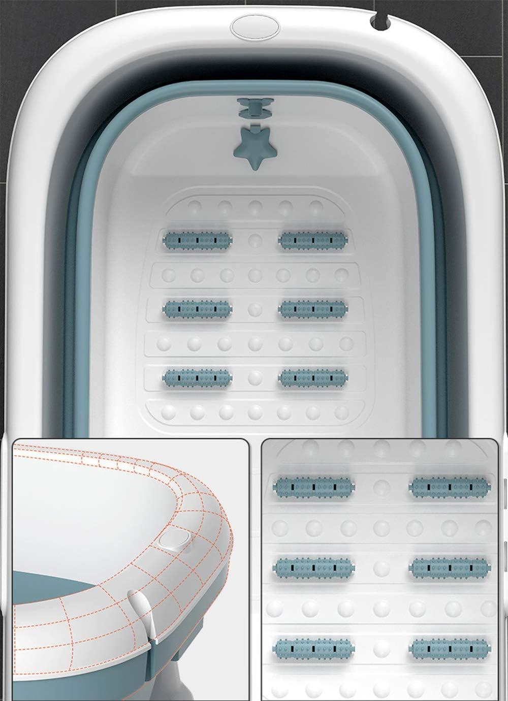 CKR Baignoire Pliable Adulte Baignoire Portable pour Adultes Grand Pliant en Plastique Baignoire Adulte Grand Plastique Baignoire pour Douche 140x62x54cm,Rose