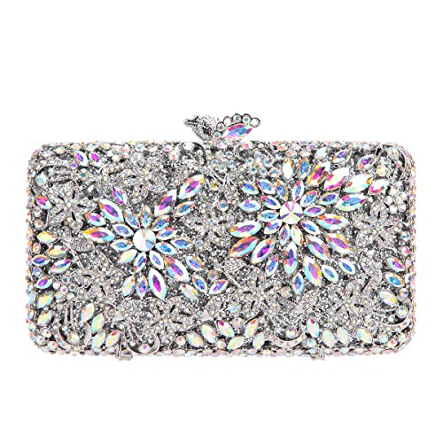 Fawziya Flower Clutch Purse Luxury Women Crystal Evening Clutch Bags-AB Silver