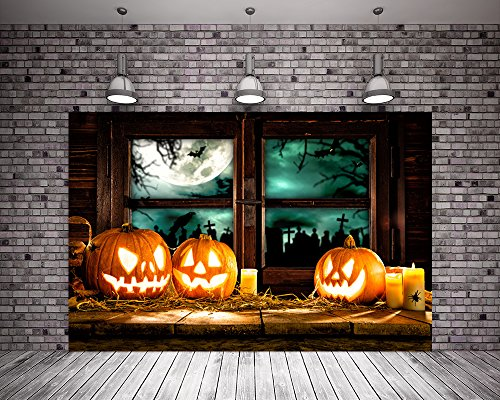Kate 7X5ft (220cmX150cm) Vintage Halloween Background Pumpkin Light Pattern Wood Floor Photo Booth Backdrop Wood Window for Photography -