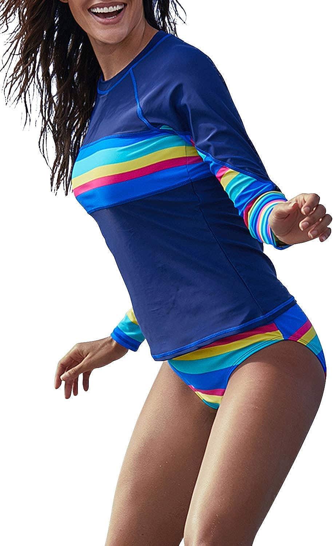 Amazon.com: ROSKIKI Women's Rash Guard Long Sleeve Printed UV Rashguard  Swimsuits Colorblock Swim Shirt Padded Surfing Athletic Swimwear: Clothing