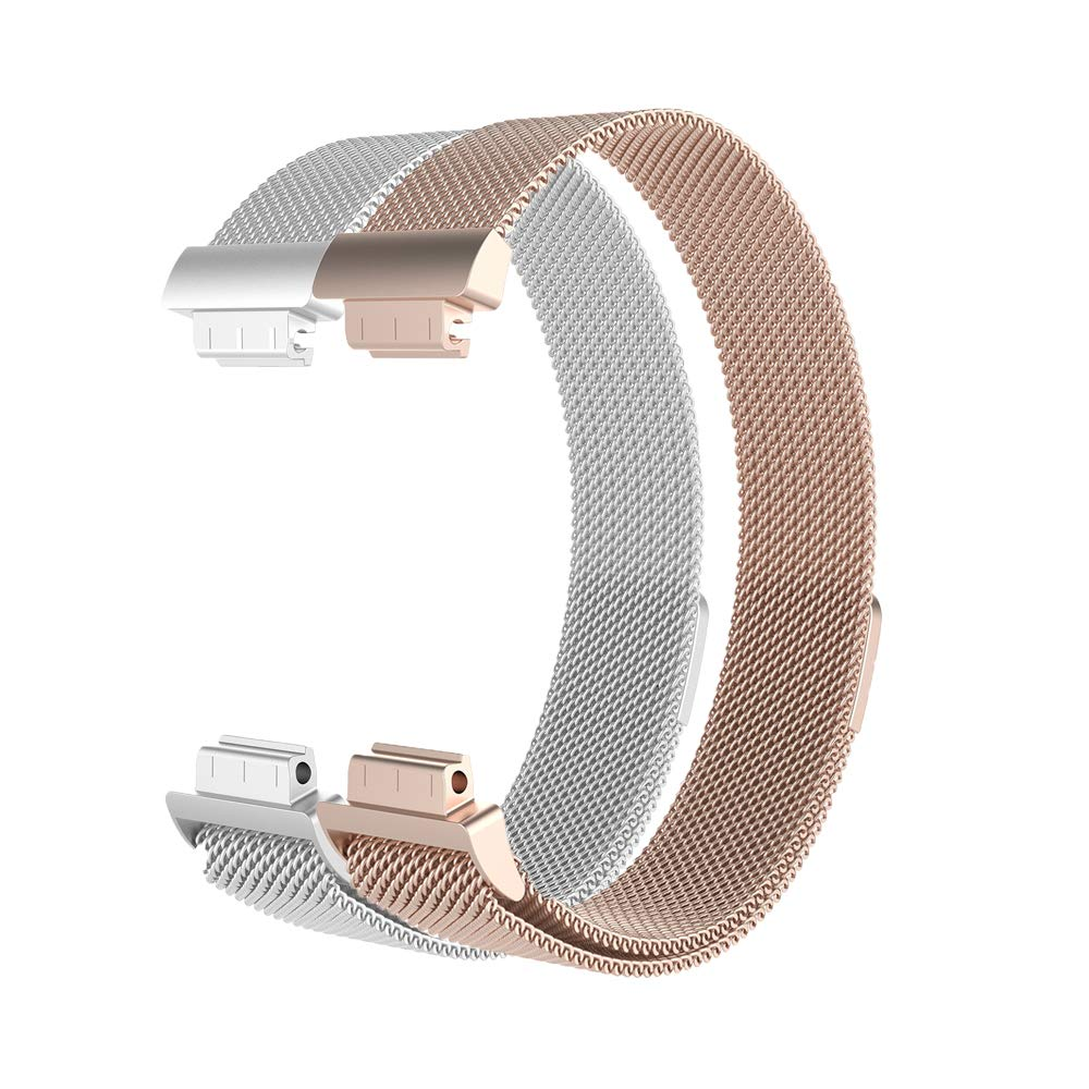 Elayce Compatible for Fitbit Inspire HR Bands,Stainless Steel Mesh Metal Replacement Band for Fitbit Inspire Bands, Magnetic Clasp Lock Wristband Strap Women Small Silver, Black, Gold (Champagne@si)