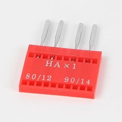 4x agujas overlock, agujas de sistema HAx1 (2x grosor 80 y 2x grosor 90