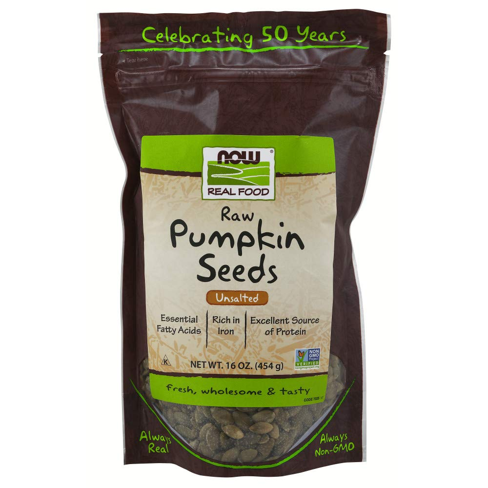 NOW Foods, Pumpkin Seeds, Raw and Unsalted, Essential Fatty Acids, Rich in Iron, Excellent Source of Protein, Certified Non-GMO, 1-Pound by NOW Foods