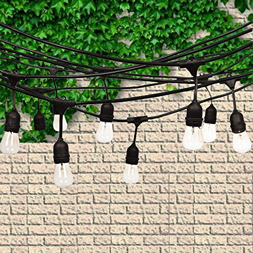 Fulelight Outdoor String Lights of Heavy Duty Weatherproof Lighting Strands with Edison incandescent String Lights for Patio,Connectable 48-Foot Includ 15 Bulbs UL Certification