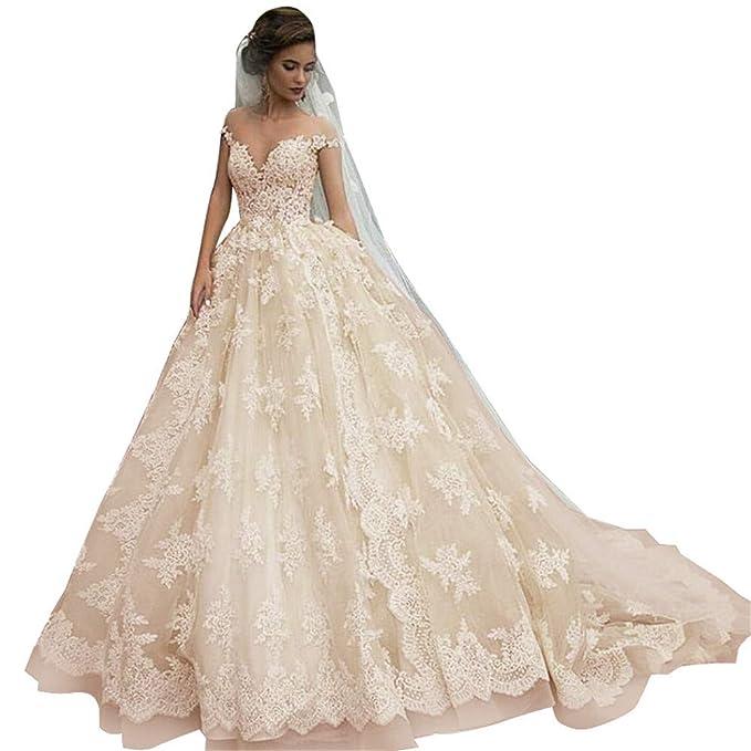 Vintage Lace Bridal Gowns Off Shoulder Princess Illusion
