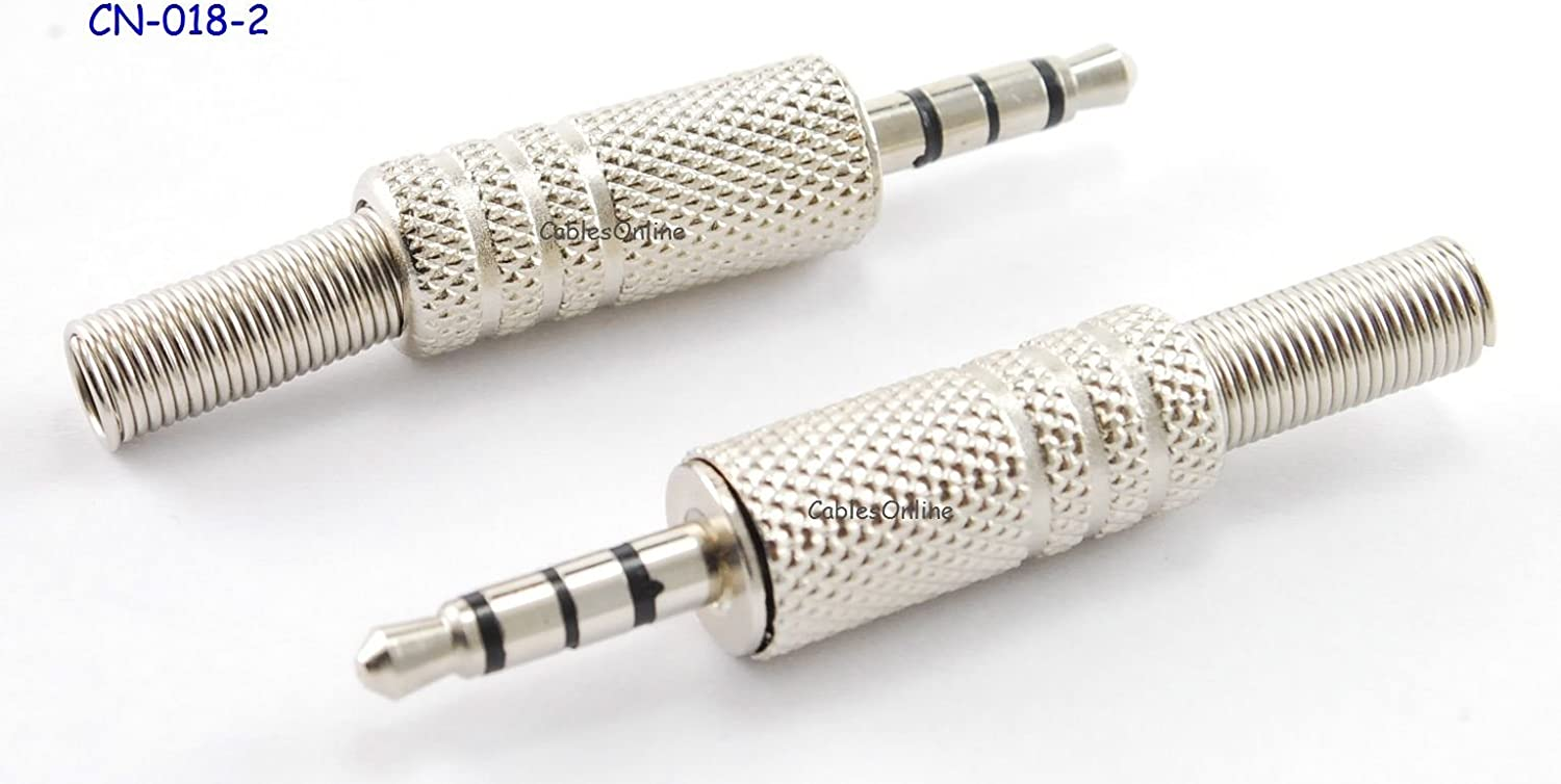 "2PACK Premium 3.5mm 1//8/"" Stereo TRRS 4-Pole Gold Male Connector w// Spring Relief"
