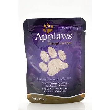 Bolsa de pollo y esp/árragos para gatos,12 x 70 g Applaws