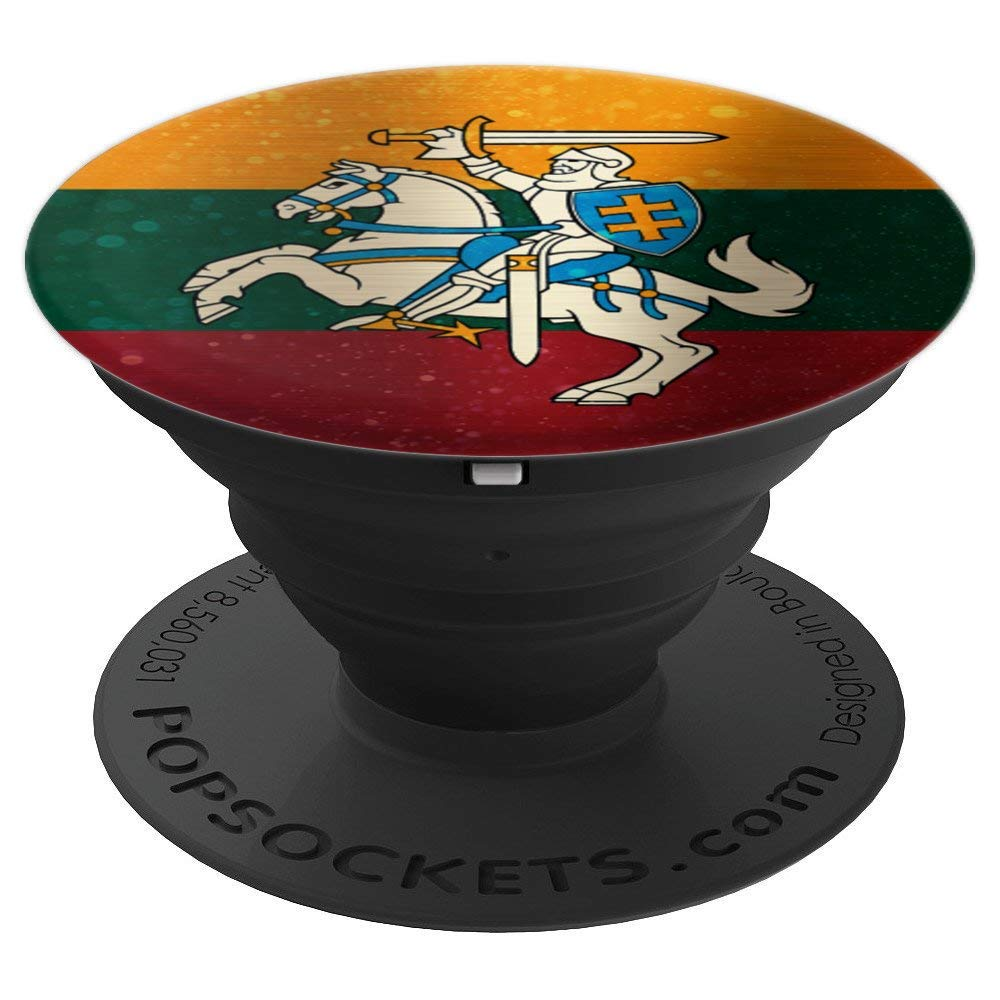 Lithuania Coat of Arms Space Design - Lithuanian Pride PopSockets Grip and Stand for Phones and Tablets