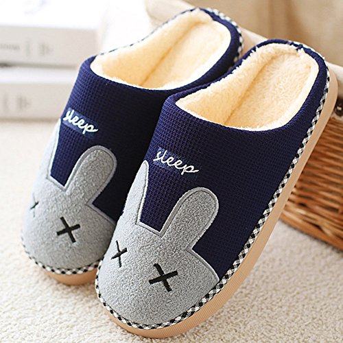 Winter Home Plush Slippers Warm Cute Cartoon Slipper Indoor Anti-Slip Shoes for Women Men Dark Blue hys7E9gzY