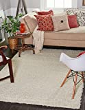 Unique Loom Solid Shag Collection Pure Ivory 5 x 8 Area Rug (5' x 8')