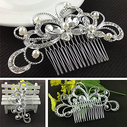 Wedding Hair Comb, Dealzip Inc Elegant Women Pearls Crystal Rhinestone Hair Comb Clip Wedding Bridal Attire Hair Accessories (Pearl Butterfly)