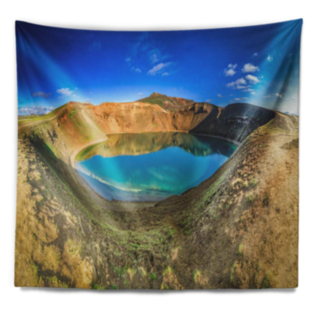 in Designart TAP11261-60-50  Blue Lake in The Crater of Volcano Landscape Blanket D/écor Art for Home and Office Wall Tapestry Large 60 in x 50 in