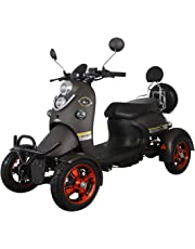 Black Electric Mobility Scooter 4 Wheeled with Extra Accessories Package: Mobility Scooter Waterproof Cover, Phone Holder, Bottle Holder by Green Power Unique4