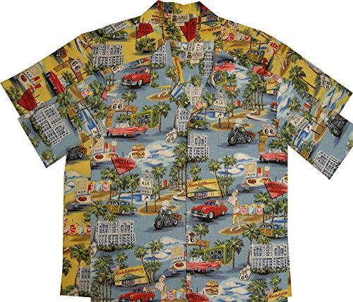 Aloha Republic Vintage Route 66 Mens Hawaiian Shirt – Made in Hawaii USA