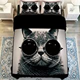 MZPRIDE 3d Cat Print Bedding Sets Unique 3d Black Glasses Cat Bed Cover Set Queen