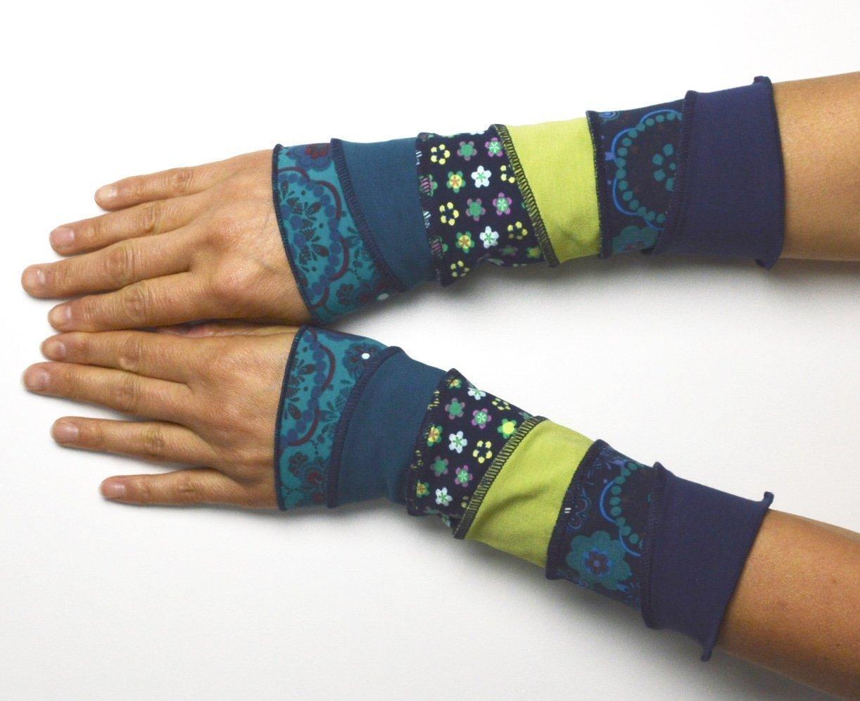 Handstulpen Jersey Patchwork Blau Grün