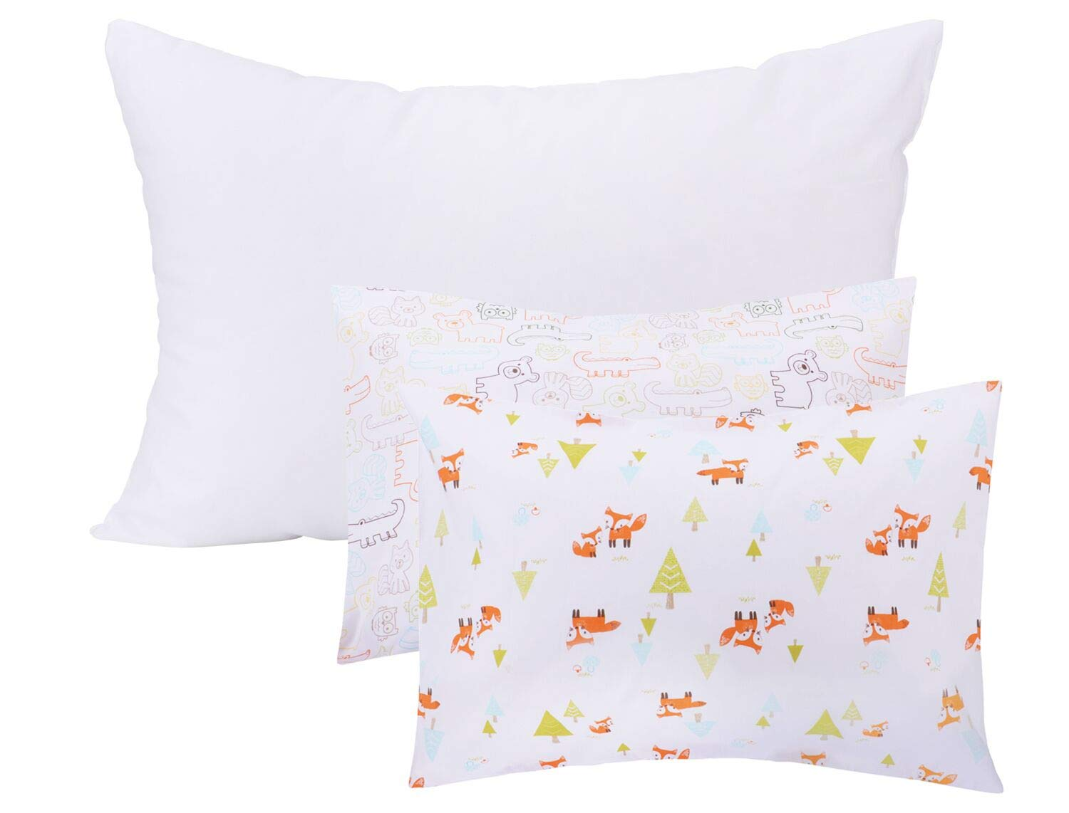 Tebery Toddler Pillow Set Baby Pillow with 2 Cute Animal Pillowcases - Envelope Style Closure - 13' x 18' Toddler Bedding Small Pillow