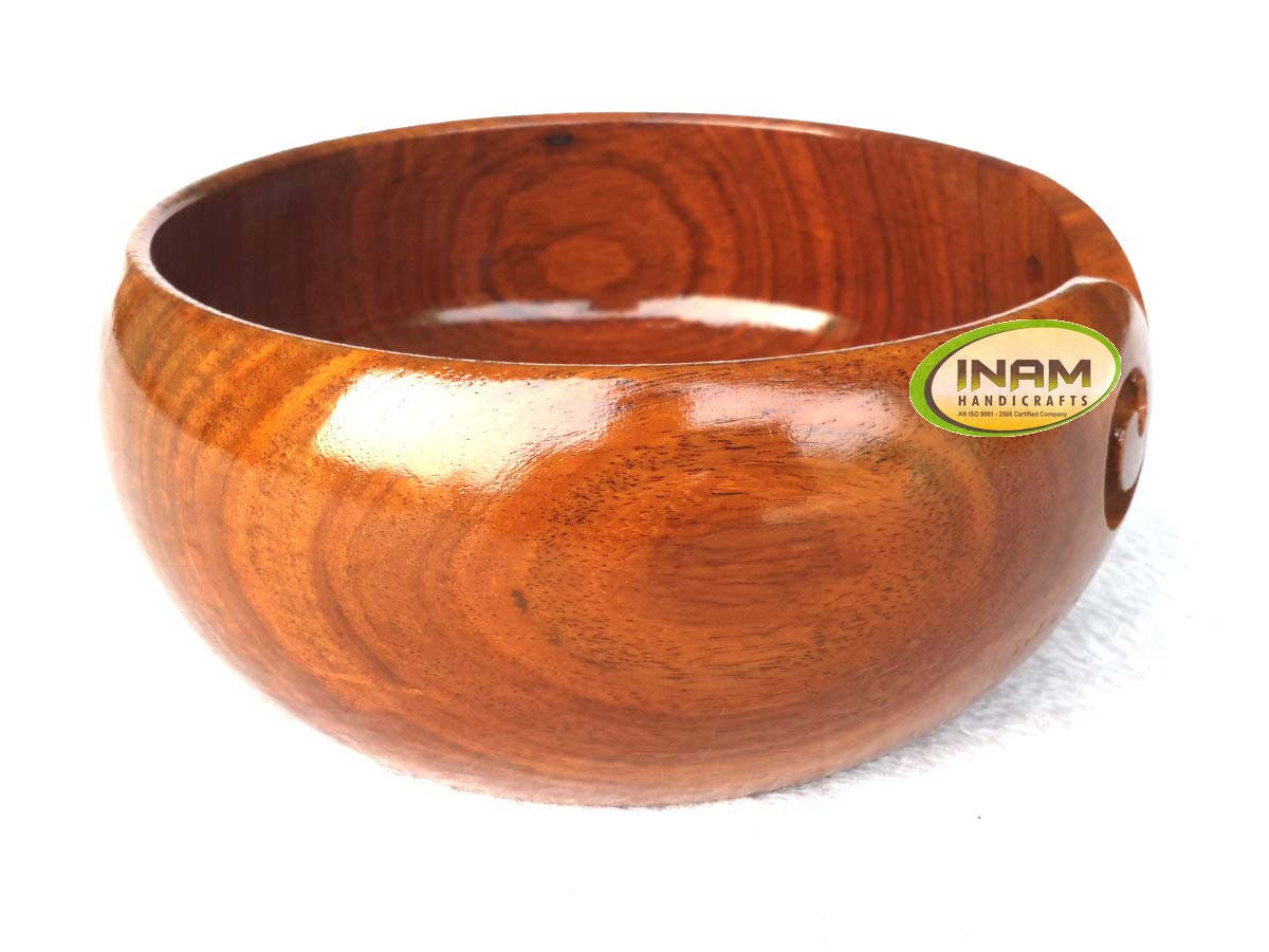 Rosewood Wooden Darn Good Yarn Bowl Rosewood Crafted Carved Holes Drills Gift Beautiful In Colour Woodenware