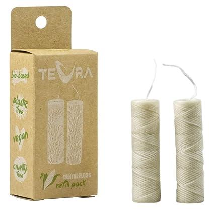 Recambios de hilo dental biodegradable de TEVRA – Recambios de hilo dental vegano con refrescante sabor