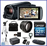 Canon VIXIA HF R800 Full HD Camcorder Travel Bundle, includes: 32GB SDHC Memory Card, LED Light, Telephoto Lens, Tripod, Spare Battery and more...
