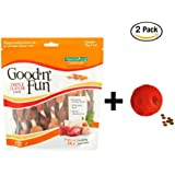Good'n'Fun Triple Flavored Kabobs Rawhide Chews for Dogs 12 oz- 18 count + Dog Toy, 2-Pack