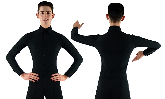 "cb7a48f90 MS961 Mens Black Ballroom Smooth Latin Dance Shirt with Briefs (15"" ..."