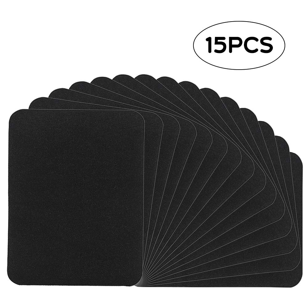 15pcs Iron on Patches Large Size 4.9 Inches x 3.7 Inches Black Fabric Repair Kit for Clothes, Jeans, Jackets