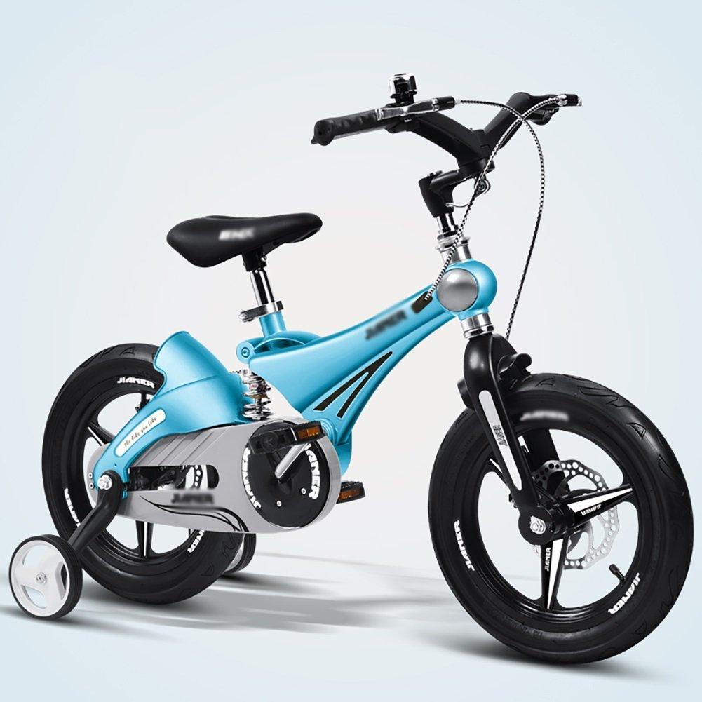 子供用自転車3歳から8歳の男の子および女の子ベビーベビーカー12 14インチのサスペンション自転車ゴールドピンクブルーイエロー B07DXJBMP9 16 inch|青 青 16 inch