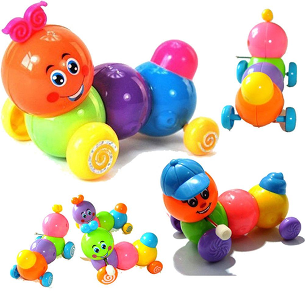 Yimosecoxiang New Popular Children's Toys Cute Colorful Body Worming Caterpillar Wind up Toy Kid Children Birthday Gift