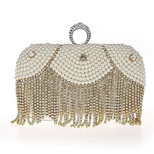 Poche Femmes White Fête De À Dames Banquet Shimmer Tassel De la Sac De Perle pour Soirée Mariage Sac Main Pochette Sac qzCzw15