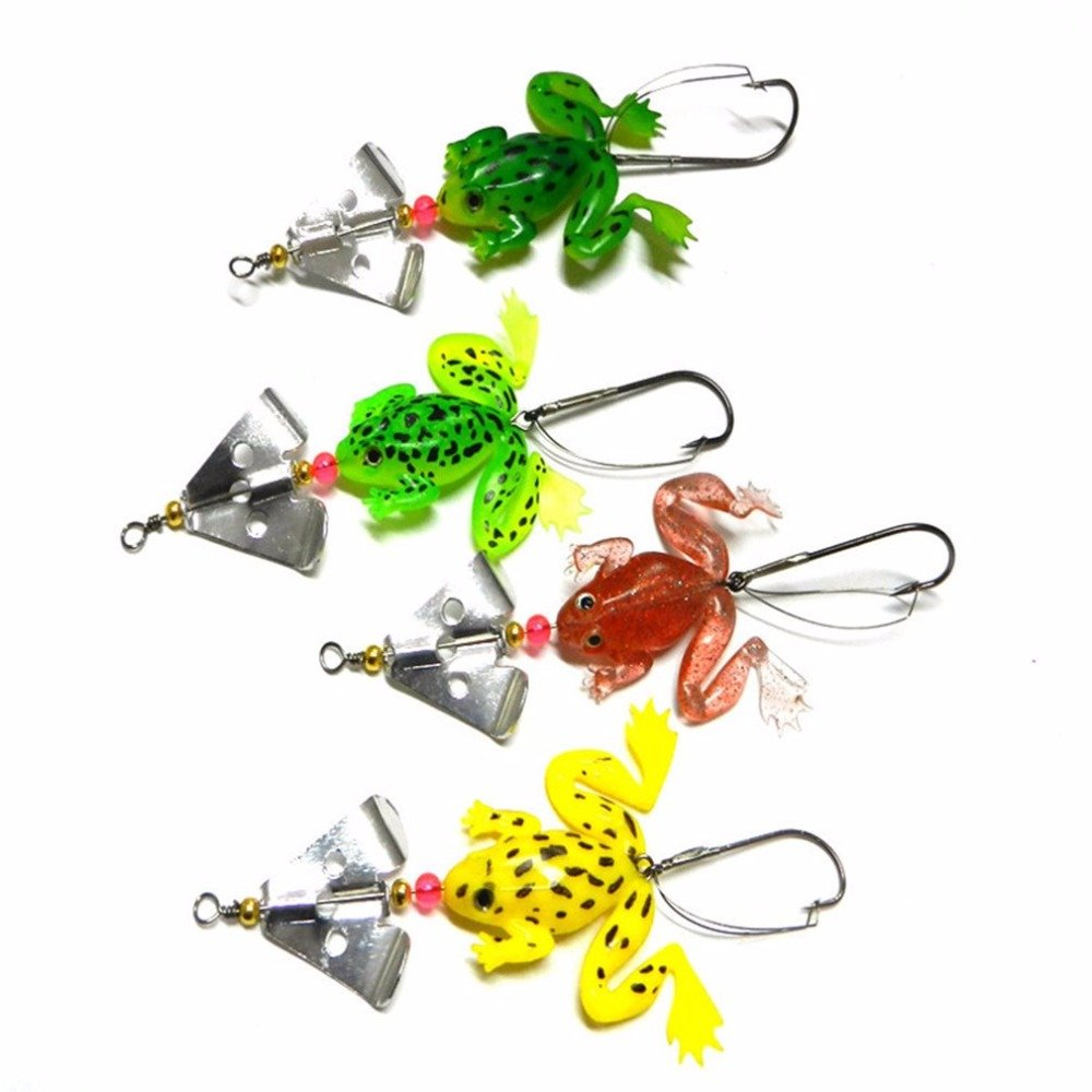 4 Pieces Soft Frog-shape Metal Fishing Lure Bream Bass Minow Sequined Fishing Suit