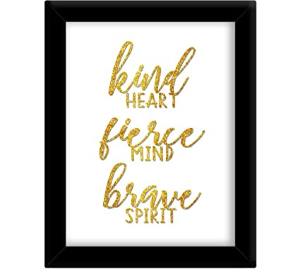Tied Ribbons Kind Heart Fierce Mind Framed Poster (Synthetic Wood, 25.9 cm x 34.5 cm, Gold)
