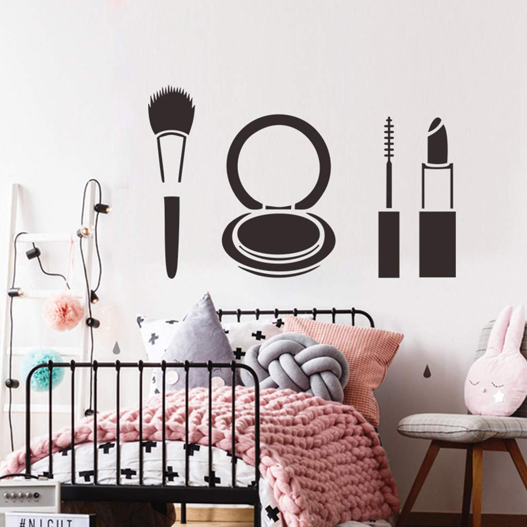 Wall Decor Sticker Pulison Decal Fashion Lipstick Makeup Girl Face Popular Woman Peel and Stick Removable Wall Stickers for Kids Nursery Bedroom Living Room