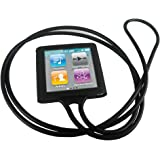 igadgitz Negro Collar Case Silicona Funda Cover Carcasa para Apple ipod nano 6ª gen + Pantalla Protector