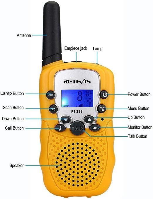 Retevis RT388 Walkie Talkie Niños PMR446 8 Canales LCD Pantalla Linterna Incorporado VOX 10 Tonos de Llamada Walkie Talkie Niñas Juguete Regalo para ...