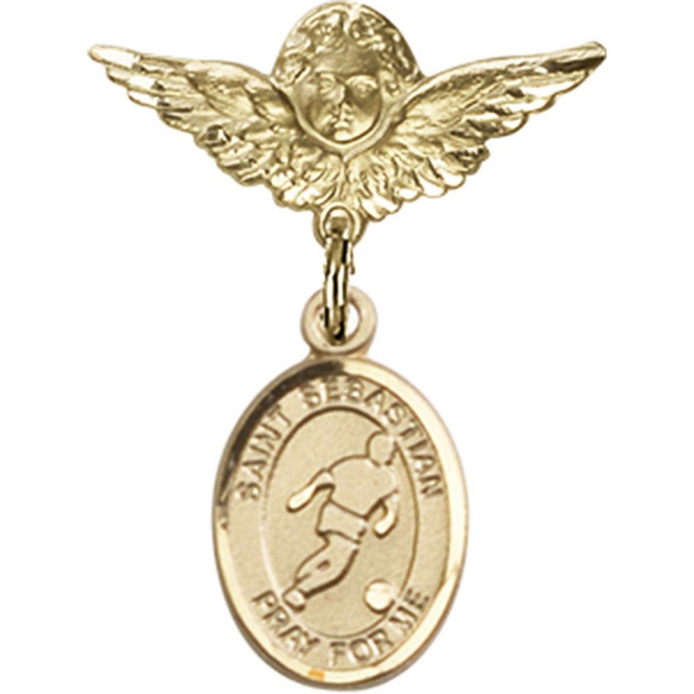 14kt Yellow Gold Baby Badge with St. Sebastian/Soccer Charm and Angel w/Wings Badge Pin 1 X 3/4 inches 61FmXaVJ1PL._SL1000_