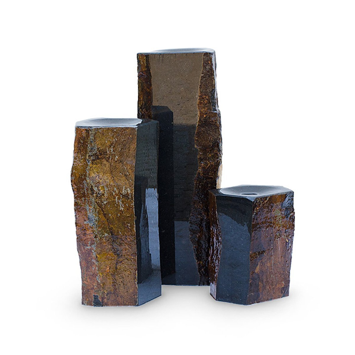 Aquascape Double Textured Basalt Cored Water Fountain Columns, Set of 3, for Landscape and Garden | 98548 by Aquascape