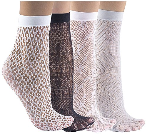 Felicity Sheer Ankle Socks, Fishnet Socks, Sheer Socks, Nylon Socks (Assorted B (4 Pack)) ()