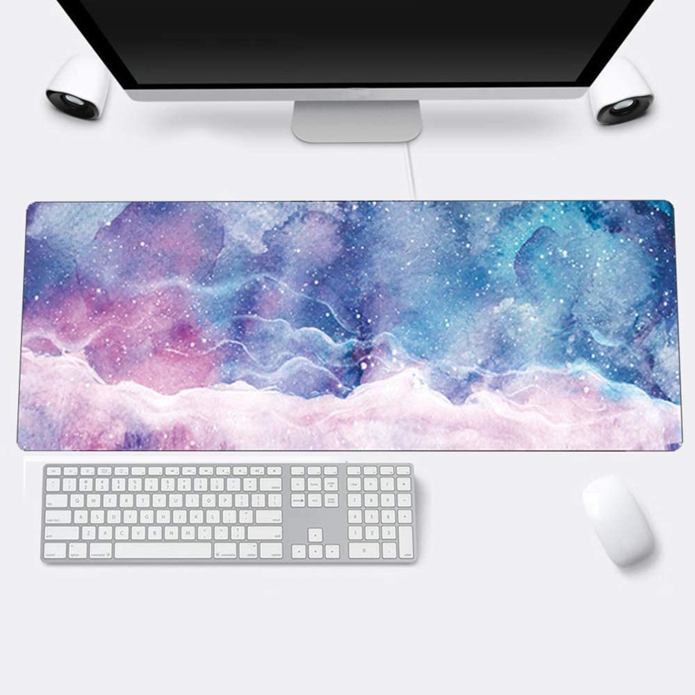 """Multifunctional Office Desk Pad, 31.2"""" x 11.8"""" PU Leather Desk Mat, Waterproof Desk Blotter Protector Mouse Pad for Office, Home (Starry Sky)"""