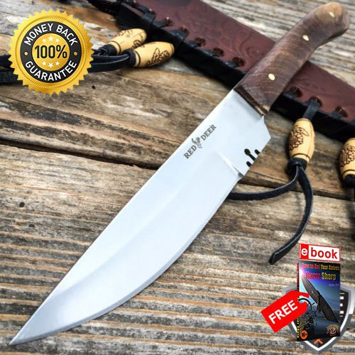 Autoload Snap - 8.5'' Mountain Man Western Style Skinner Fixed Blade Trade Patch Knife Sheath For Hunting Tactical Camping Cosplay + eBOOK by MOON KNIVES