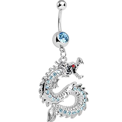 enjoy clearance price top-rated genuine on feet shots of Brilliant Blue Chinese Dragon Charm Dangle Belly Ring