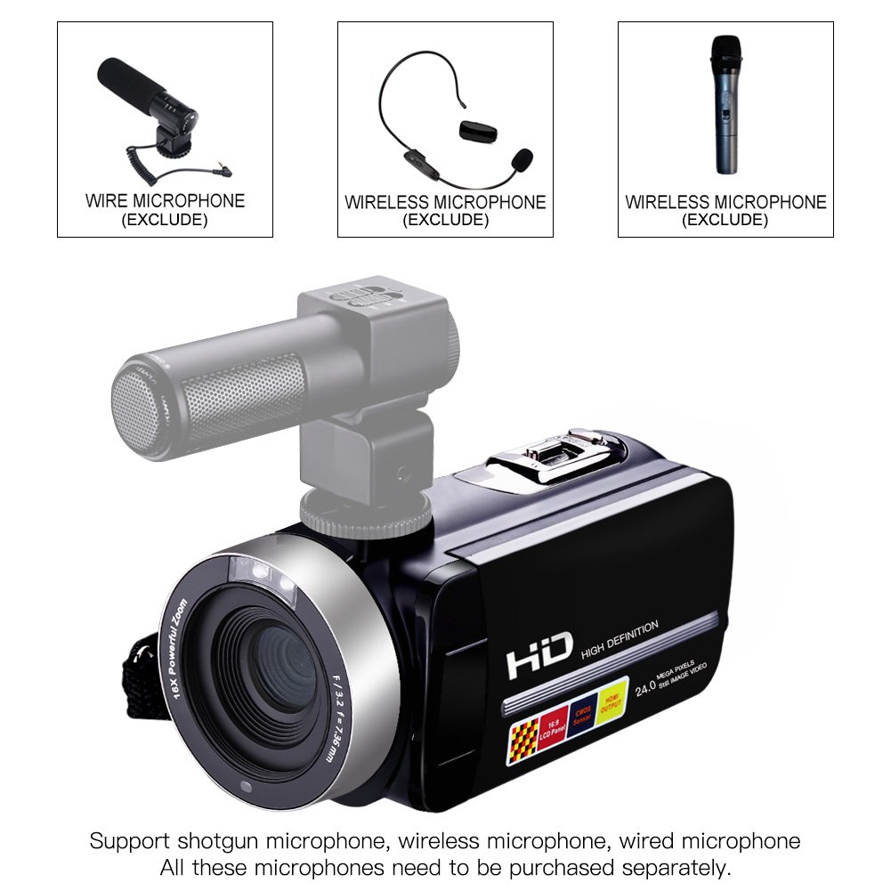 Camcorder Video Camera Full HD 1080p 24.0MP Digital Camera External Microphone Video Recorder Night Vision Webcam with Remote Control by COMI (Image #2)