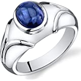 Mens Created Sapphire Cabochon Ring Sterling Silver Rhodium Nickel Finish 3.50 Carats Sizes 8 to 13