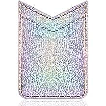 Card Holder for Back of Phone, LUXMO PREMIUM V-shape Slim Self Adhesive Stick on Credit Card Wallet Card Holder Phone Pocket Sleeves (Silver)