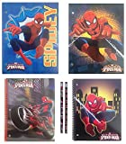 Licensed Character School Supplies Bundle of 6 Items: Pocket Folders, Spiral Notebooks, Pencils (Spider-man)