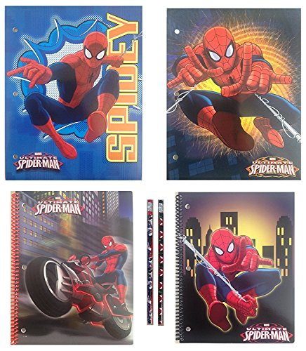 Licensed Character School Supplies Bundle of: Pocket Folders, Spiral Notebooks, Pencils