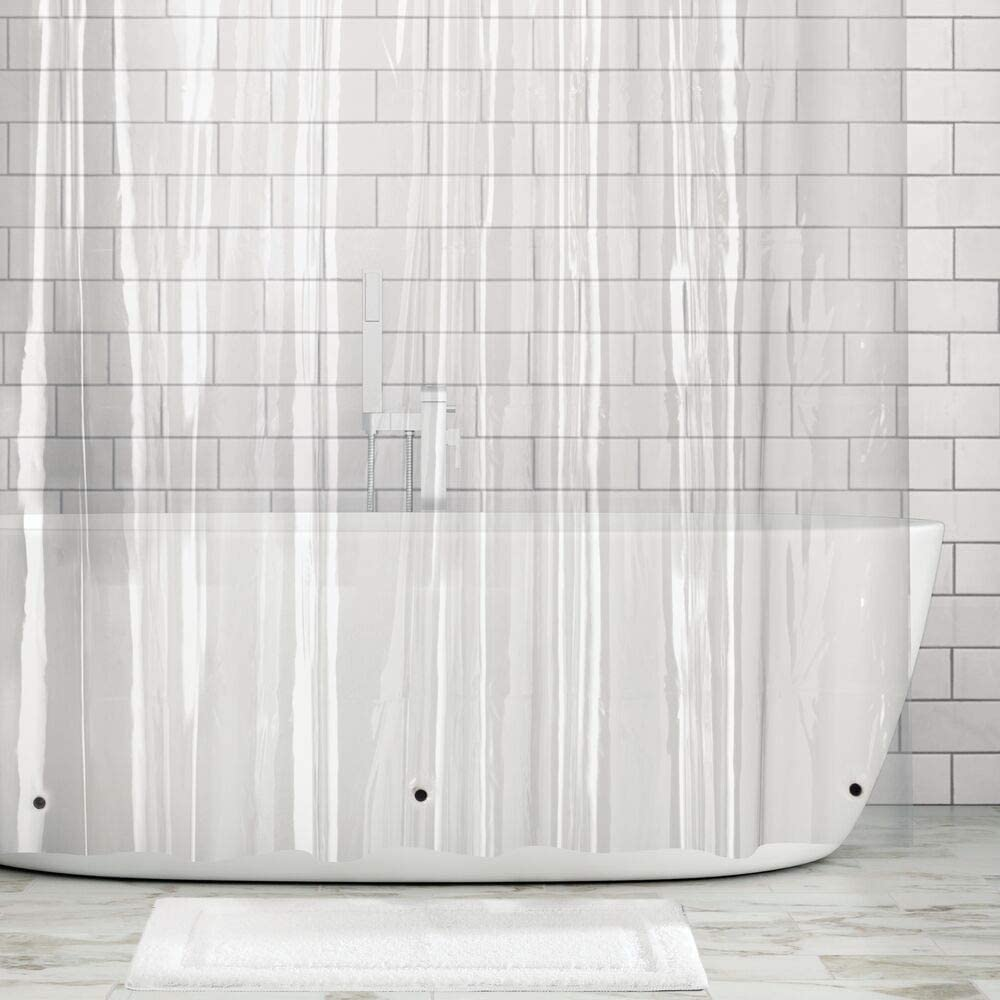 mDesign Extra Long Waterproof, Heavy Duty Premium Quality 10-Guage Vinyl Shower Curtain Liner for Bathroom Shower Stall and Bathtub - 72